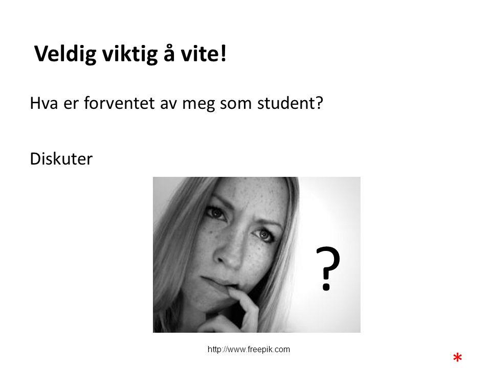 Veldig viktig å vite! Hva er forventet av meg som student udent Diskuter http://www.freepik.com.