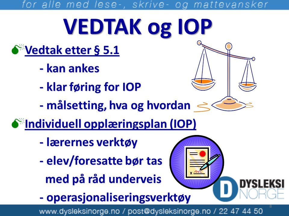 VEDTAK og IOP Vedtak etter § 5.1 - kan ankes - klar føring for IOP