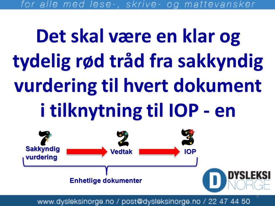 Det skal være en klar og tydelig rød tråd fra sakkyndig vurdering til hvert dokument i tilknytning til IOP - en