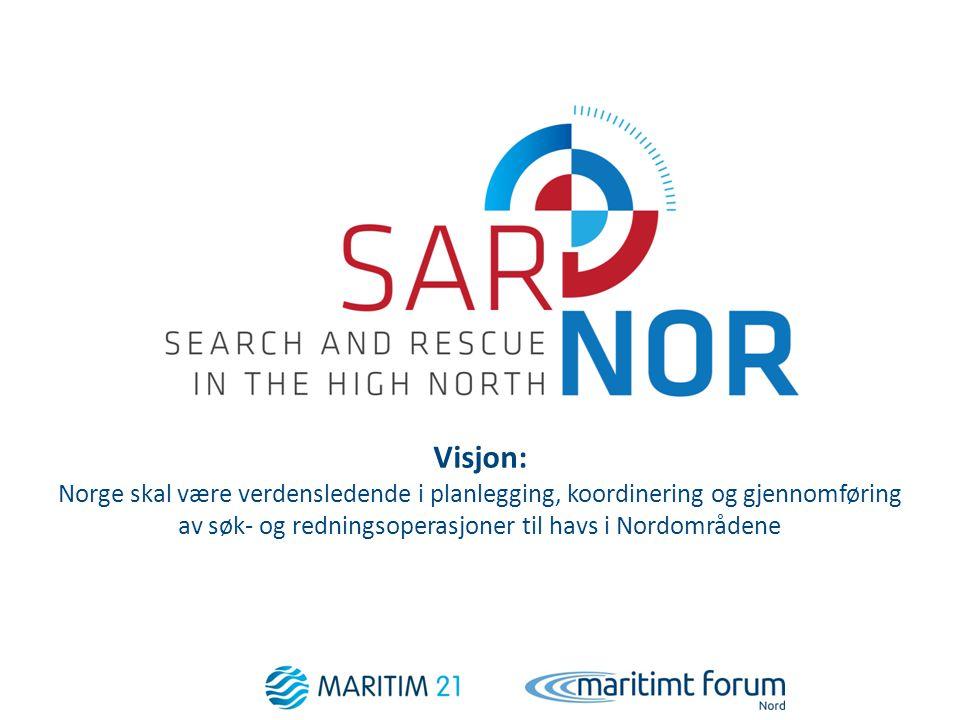 Visjon: Norge skal være verdensledende i planlegging, koordinering og gjennomføring av søk- og redningsoperasjoner til havs i Nordområdene