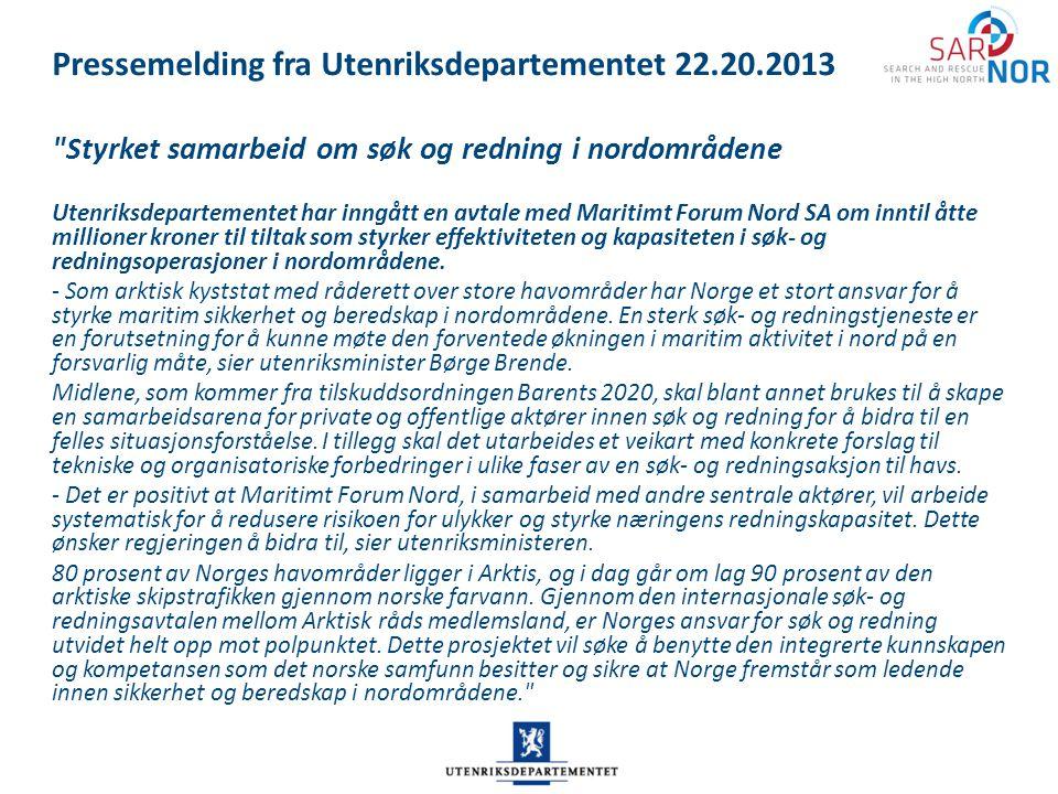 Pressemelding fra Utenriksdepartementet 22.20.2013