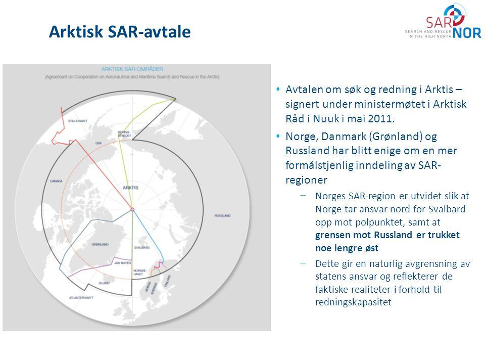 Arktisk SAR-avtale Avtalen om søk og redning i Arktis – signert under ministermøtet i Arktisk Råd i Nuuk i mai 2011.