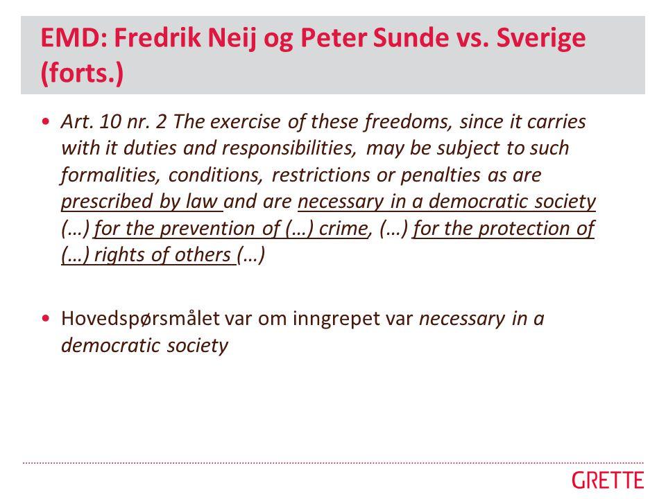 EMD: Fredrik Neij og Peter Sunde vs. Sverige (forts.)