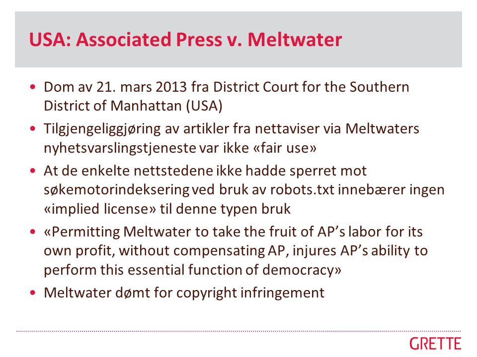 USA: Associated Press v. Meltwater