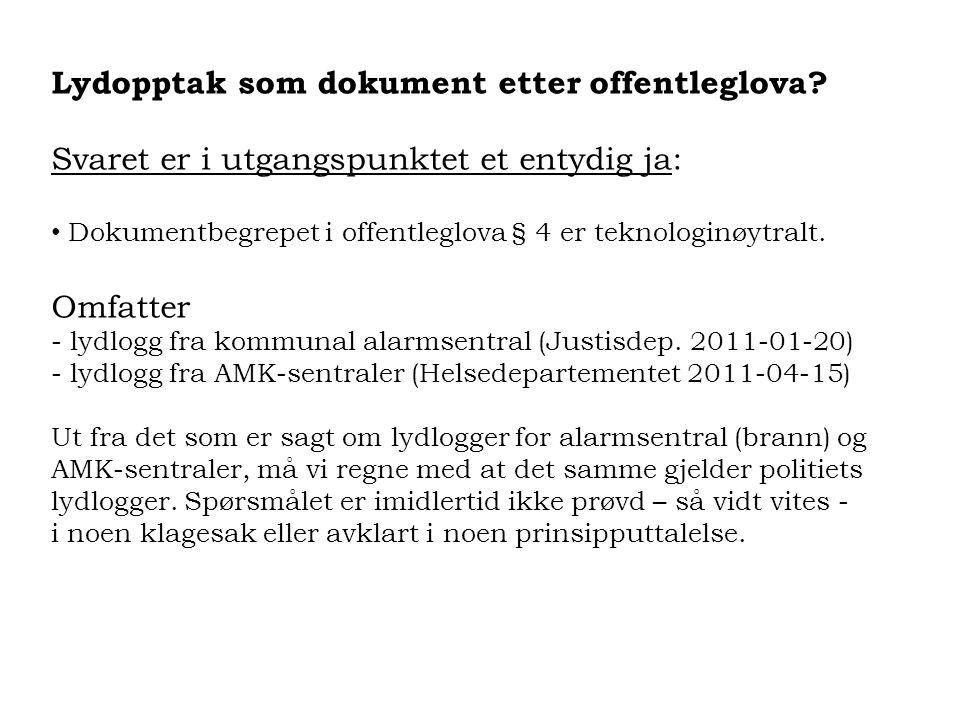 Lydopptak som dokument etter offentleglova