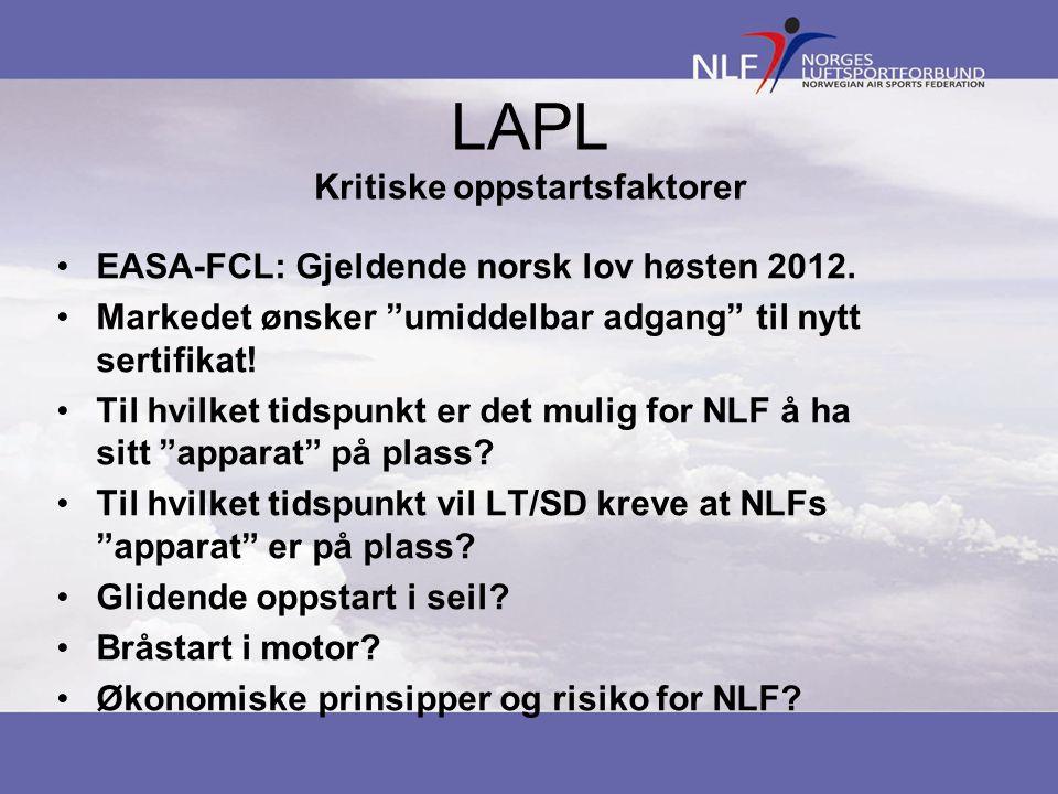 LAPL Kritiske oppstartsfaktorer