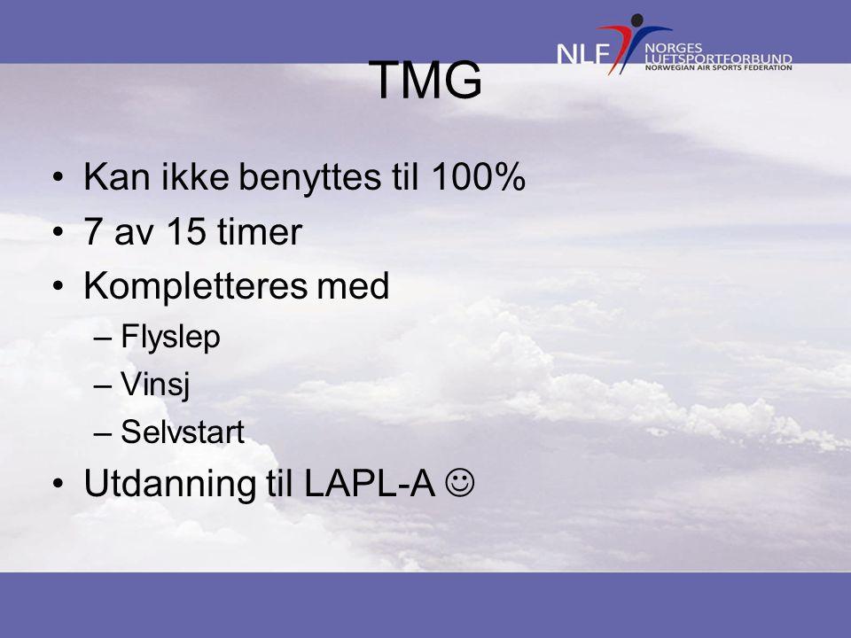 TMG Kan ikke benyttes til 100% 7 av 15 timer Kompletteres med