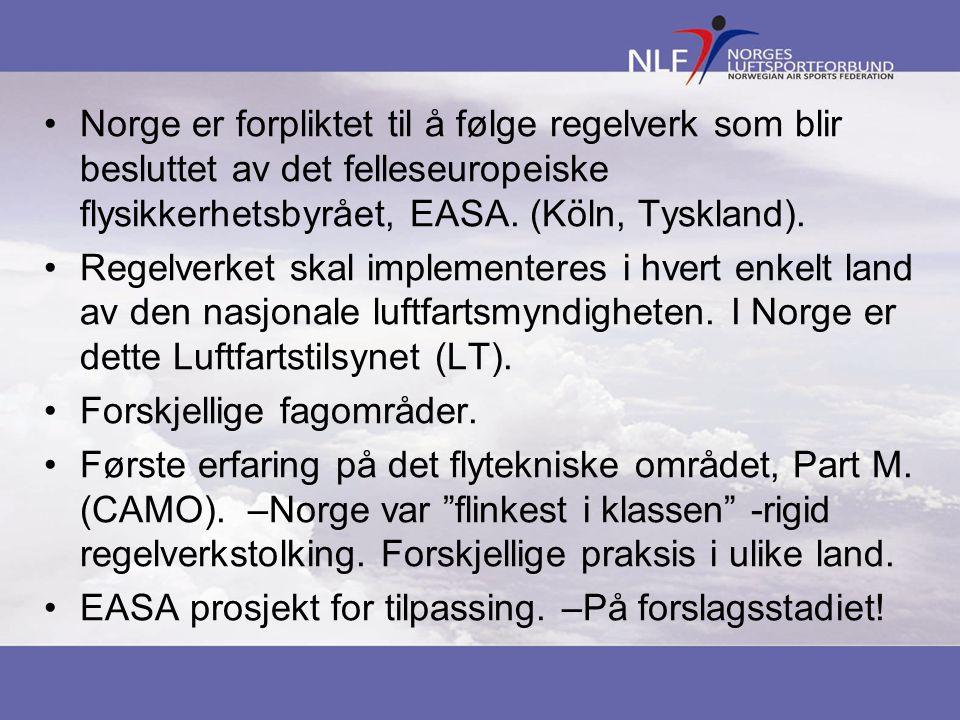 Norge er forpliktet til å følge regelverk som blir besluttet av det felleseuropeiske flysikkerhetsbyrået, EASA. (Köln, Tyskland).