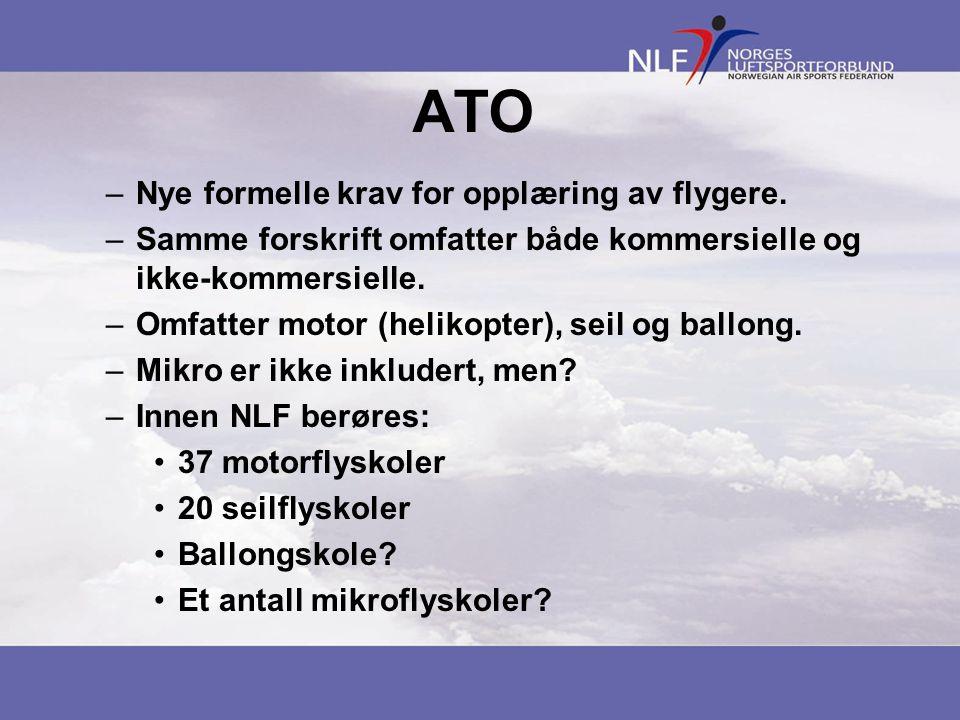 ATO Nye formelle krav for opplæring av flygere.