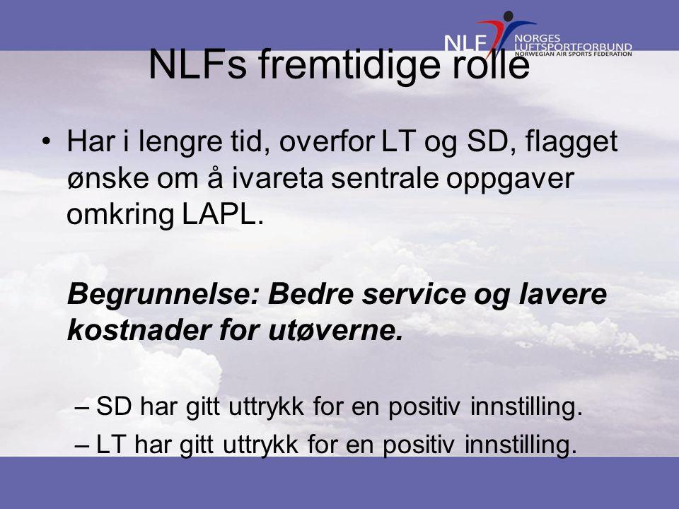 NLFs fremtidige rolle Har i lengre tid, overfor LT og SD, flagget ønske om å ivareta sentrale oppgaver omkring LAPL.