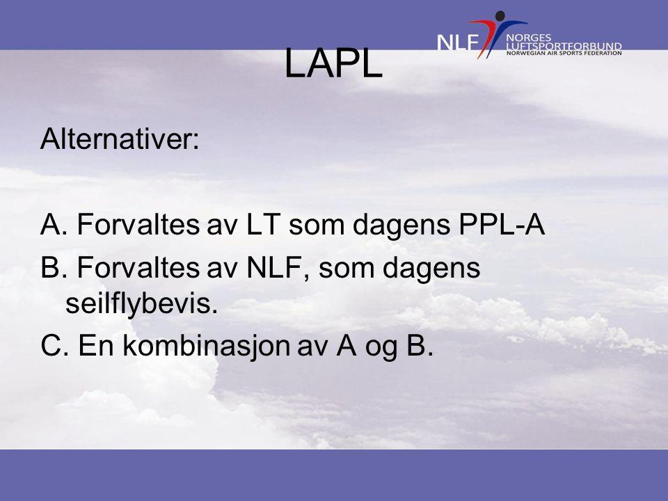 LAPL Alternativer: Forvaltes av LT som dagens PPL-A