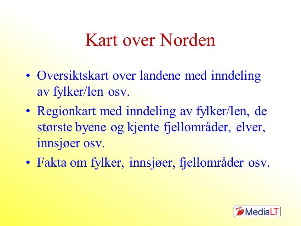 Kart over Norden Oversiktskart over landene med inndeling av fylker/len osv.