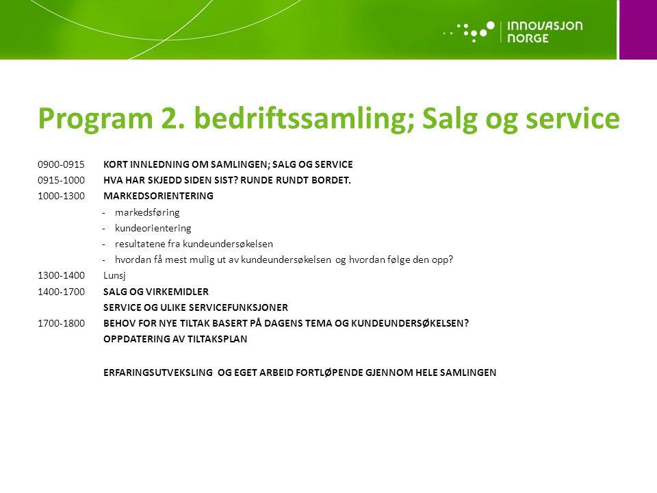 Program 2. bedriftssamling; Salg og service