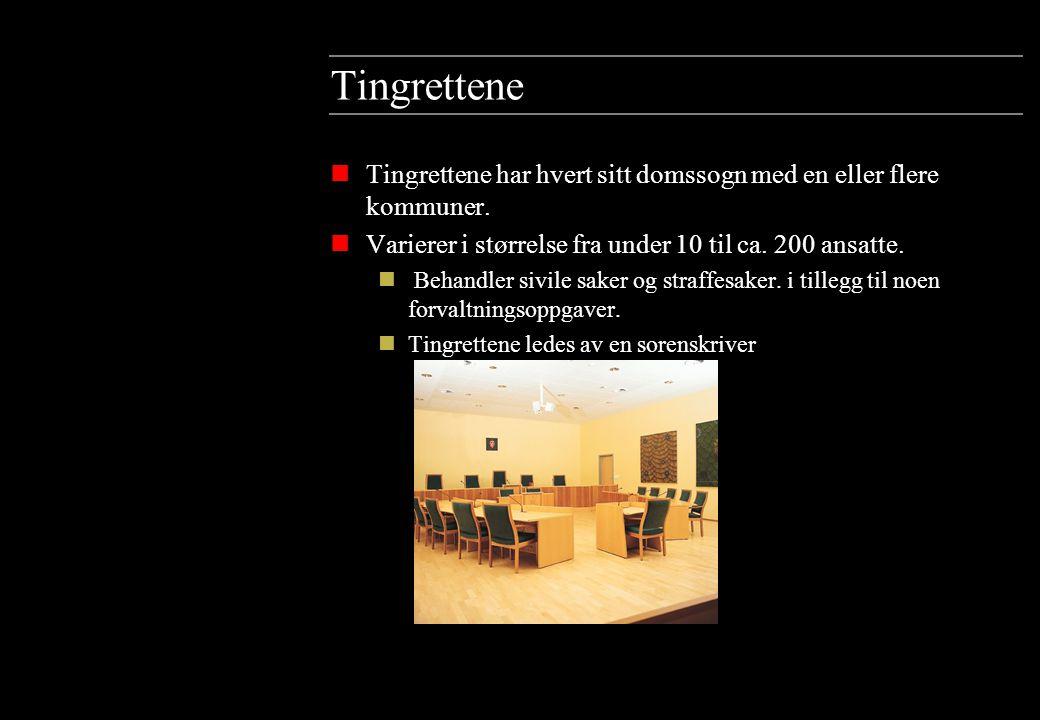 Tingrettene Tingrettene har hvert sitt domssogn med en eller flere kommuner. Varierer i størrelse fra under 10 til ca. 200 ansatte.
