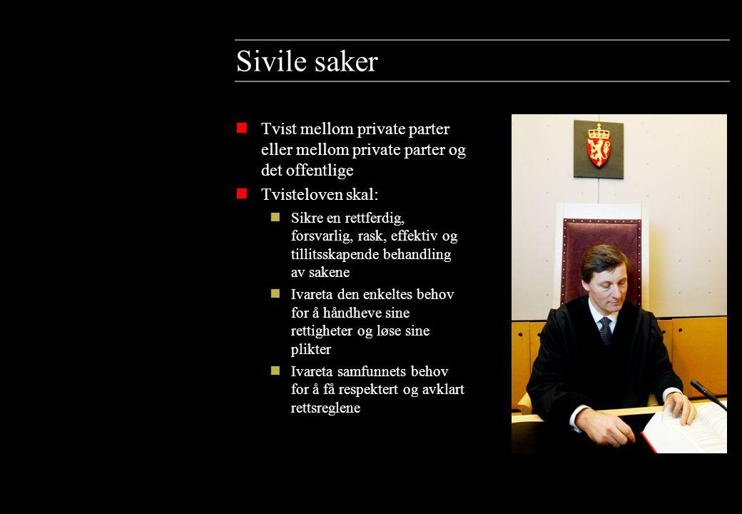 Sivile saker Tvist mellom private parter eller mellom private parter og det offentlige. Tvisteloven skal: