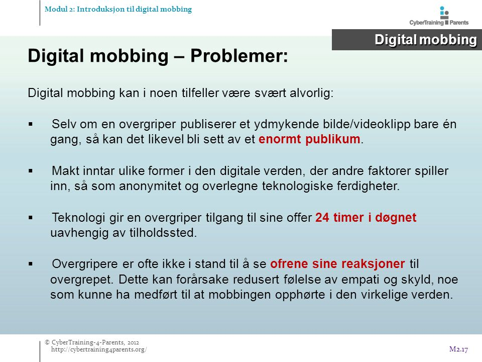 Digital mobbing – Problemer: