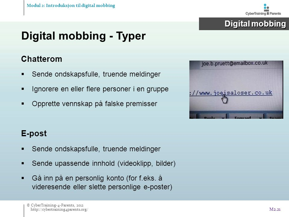 Digital mobbing - Typer