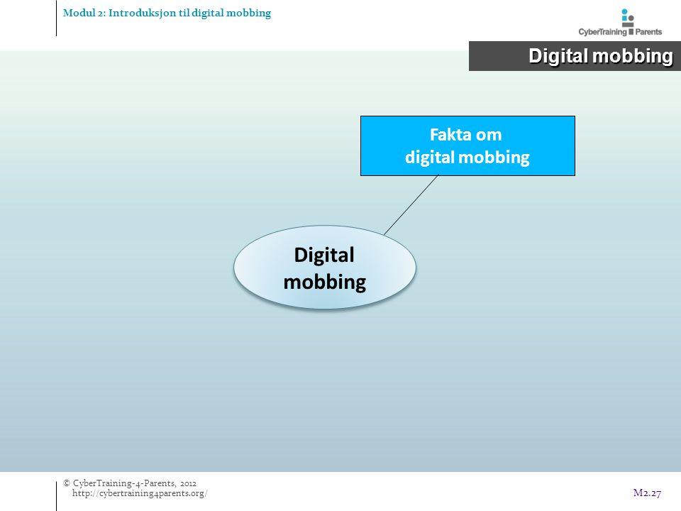 Digital mobbing Digital mobbing Fakta om digital mobbing