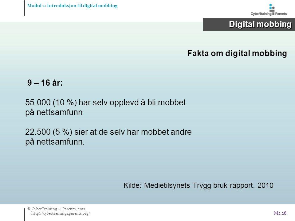 Fakta om digital mobbing