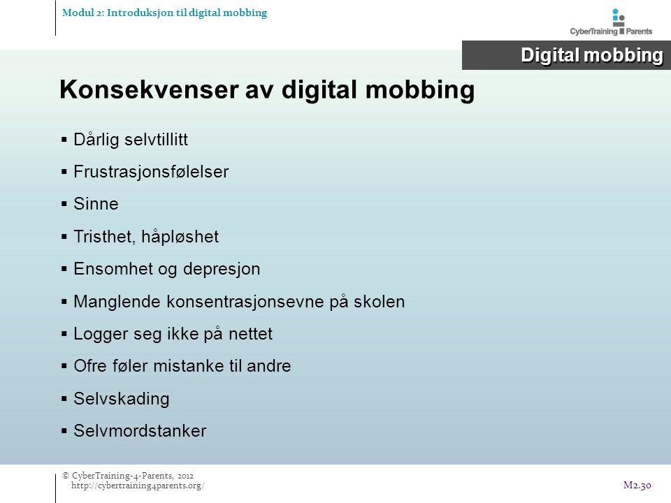 Konsekvenser av digital mobbing