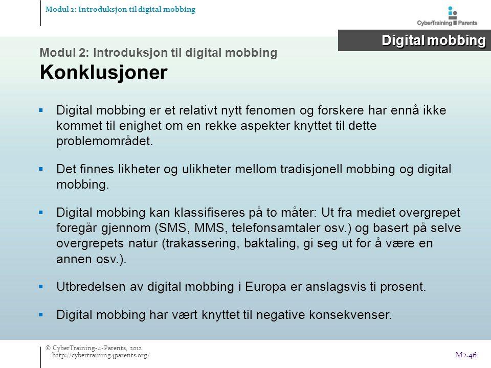 Modul 2: Introduksjon til digital mobbing Konklusjoner