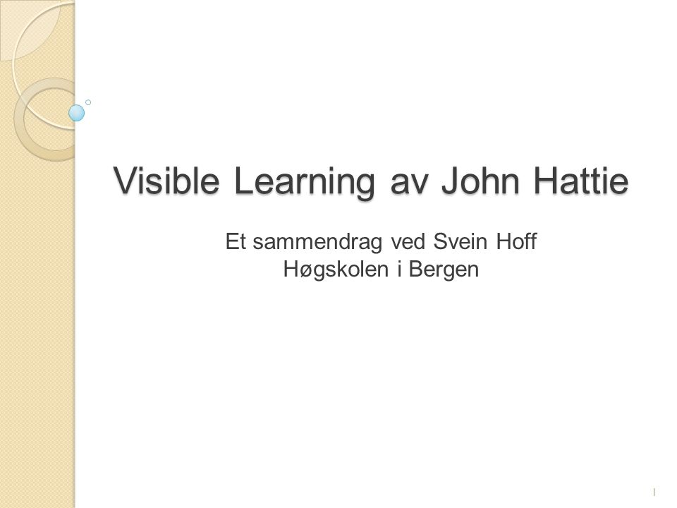 Visible Learning av John Hattie