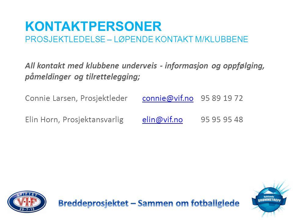 KONTAKTPERSONER PROSJEKTLEDELSE – LØPENDE KONTAKT M/KLUBBENE. All kontakt med klubbene underveis - informasjon og oppfølging,