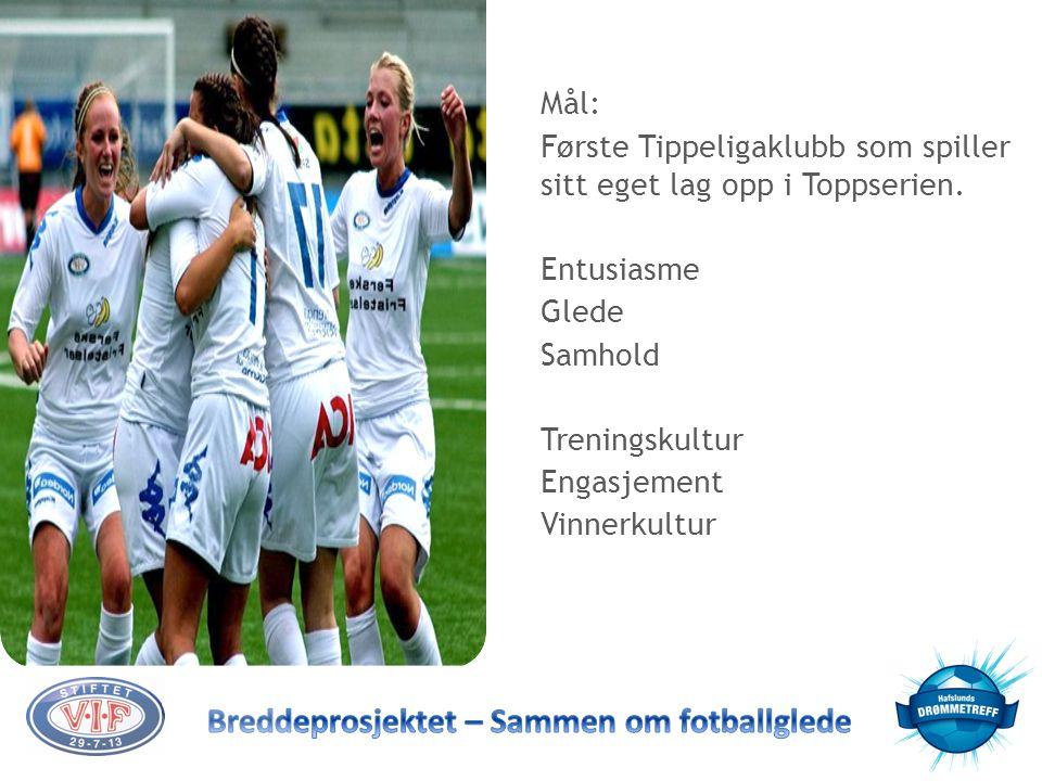 Mål: Første Tippeligaklubb som spiller sitt eget lag opp i Toppserien. Entusiasme. Glede. Samhold.
