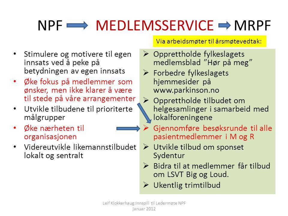NPF MEDLEMSSERVICE MRPF