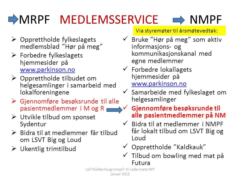 MRPF MEDLEMSSERVICE NMPF
