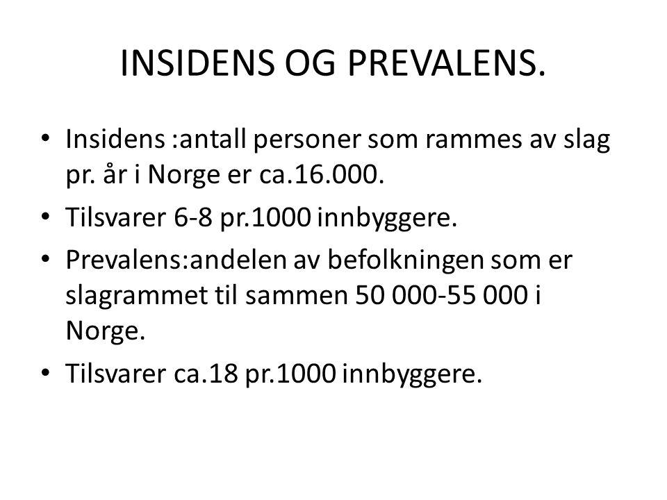 INSIDENS OG PREVALENS. Insidens :antall personer som rammes av slag pr. år i Norge er ca.16.000. Tilsvarer 6-8 pr.1000 innbyggere.