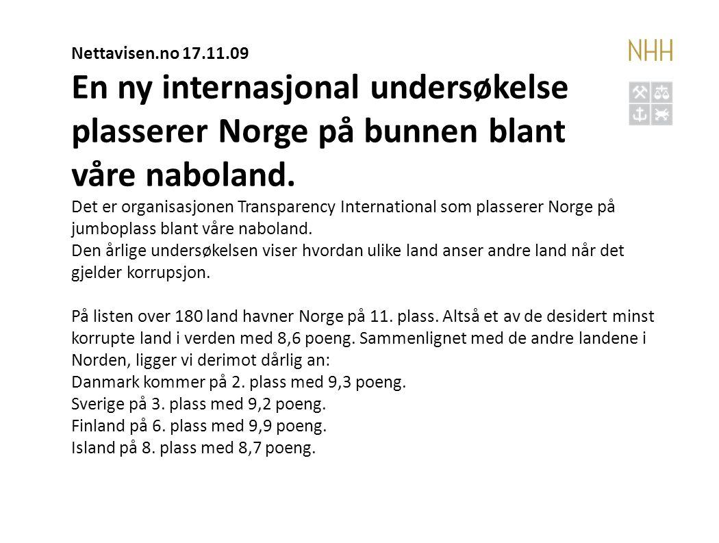 En ny internasjonal undersøkelse plasserer Norge på bunnen blant