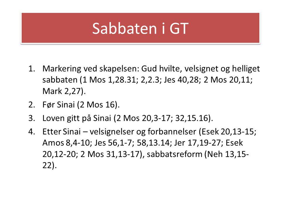 Sabbaten i GT Markering ved skapelsen: Gud hvilte, velsignet og helliget sabbaten (1 Mos 1,28.31; 2,2.3; Jes 40,28; 2 Mos 20,11; Mark 2,27).