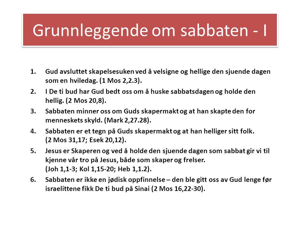 Grunnleggende om sabbaten - I