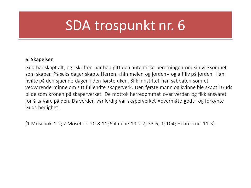 SDA trospunkt nr. 6 6. Skapelsen