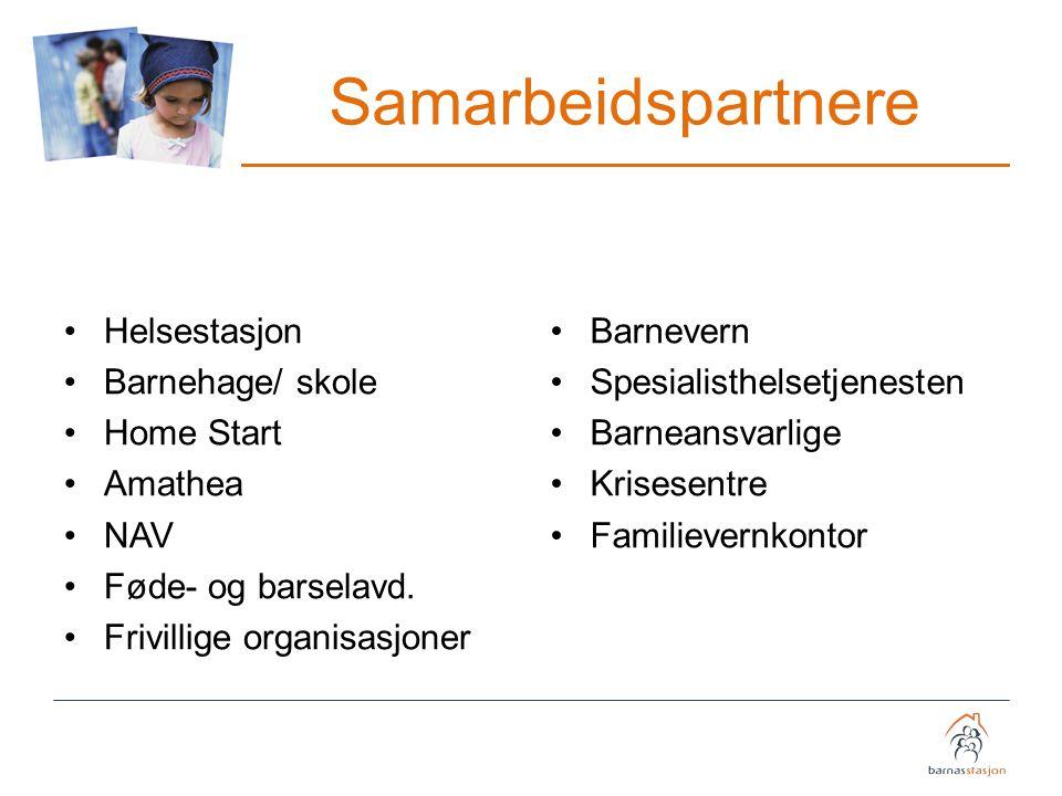 Samarbeidspartnere Helsestasjon Barnehage/ skole Home Start Amathea