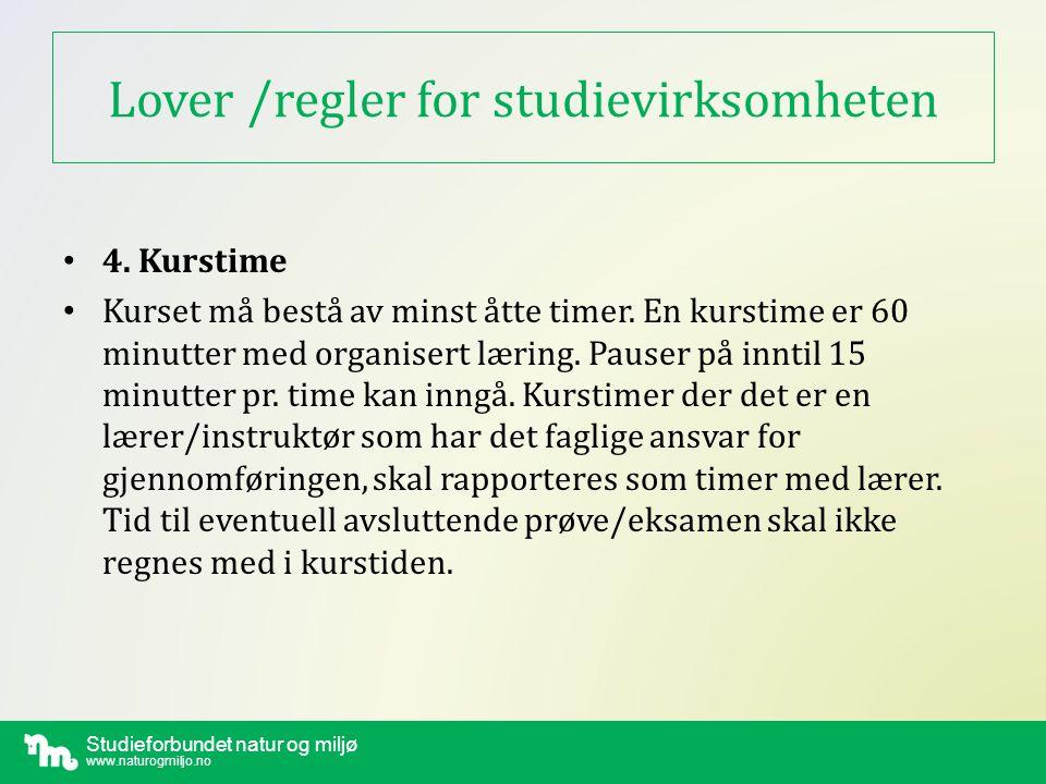 Lover /regler for studievirksomheten