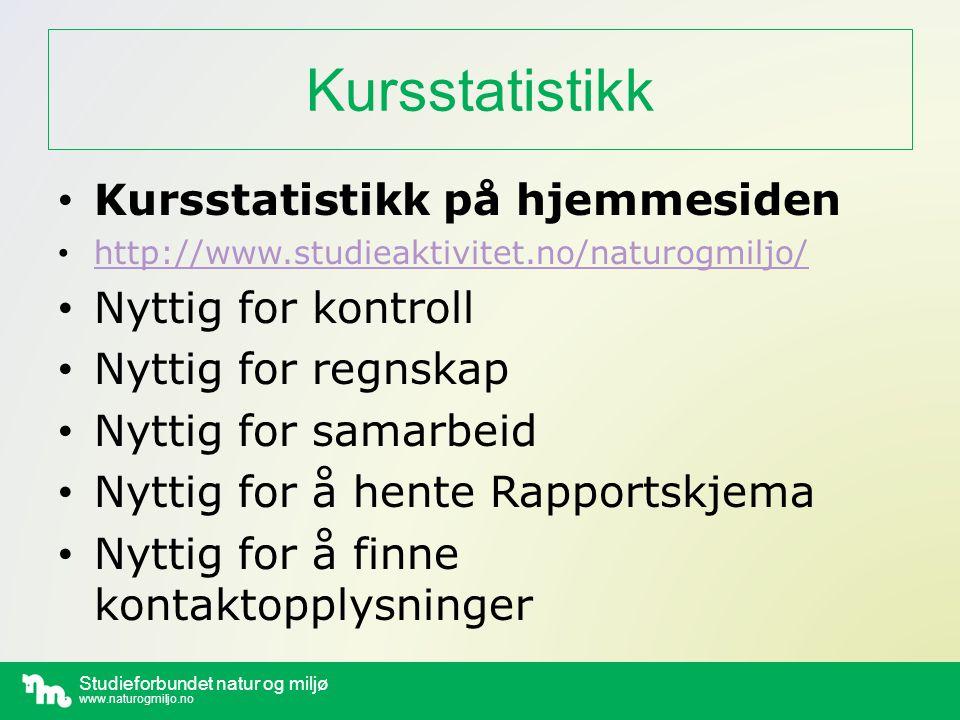 Kursstatistikk Kursstatistikk på hjemmesiden Nyttig for kontroll