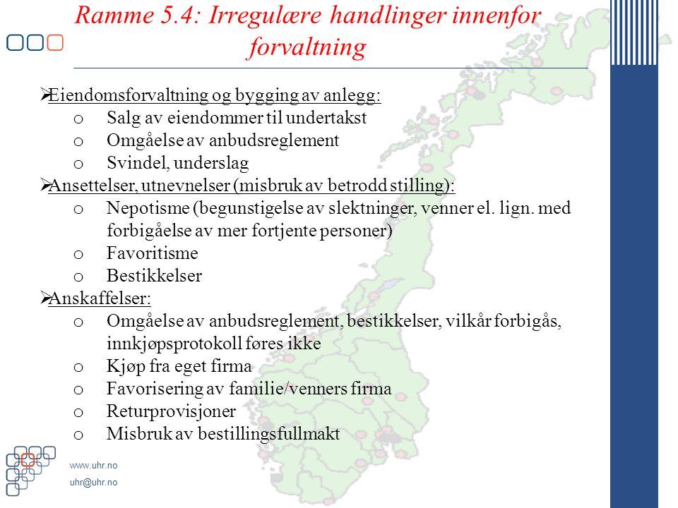 Ramme 5.4: Irregulære handlinger innenfor forvaltning