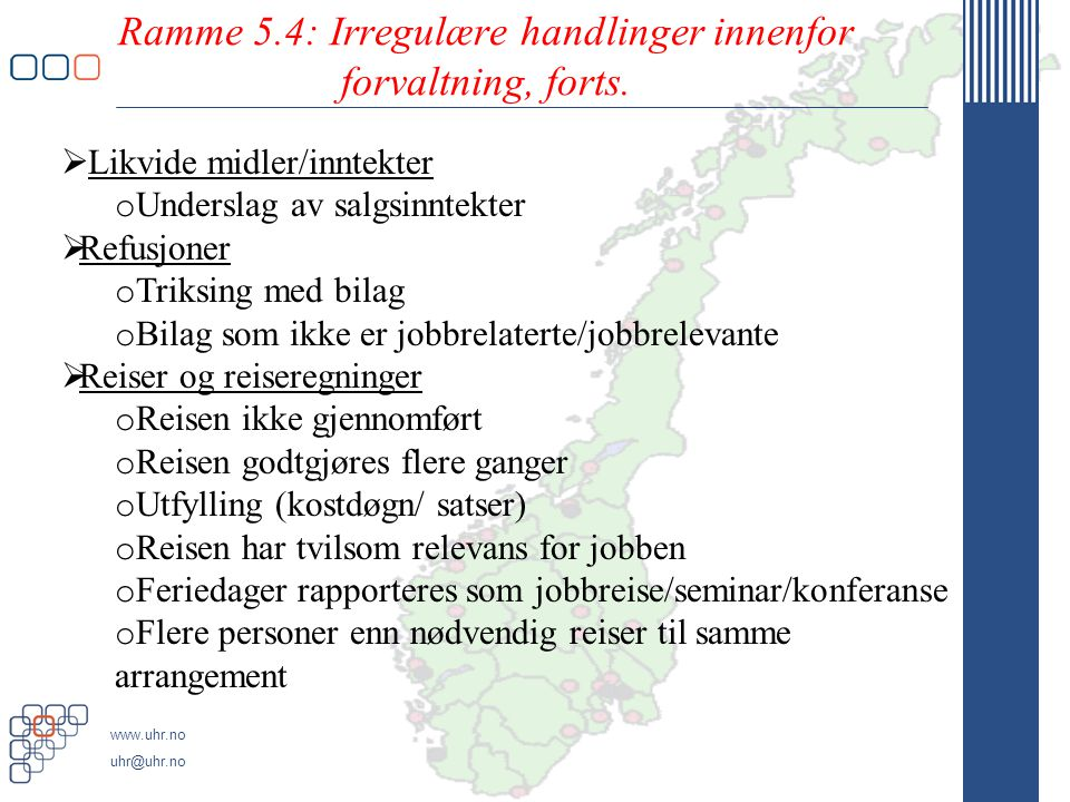 Ramme 5.4: Irregulære handlinger innenfor forvaltning, forts.