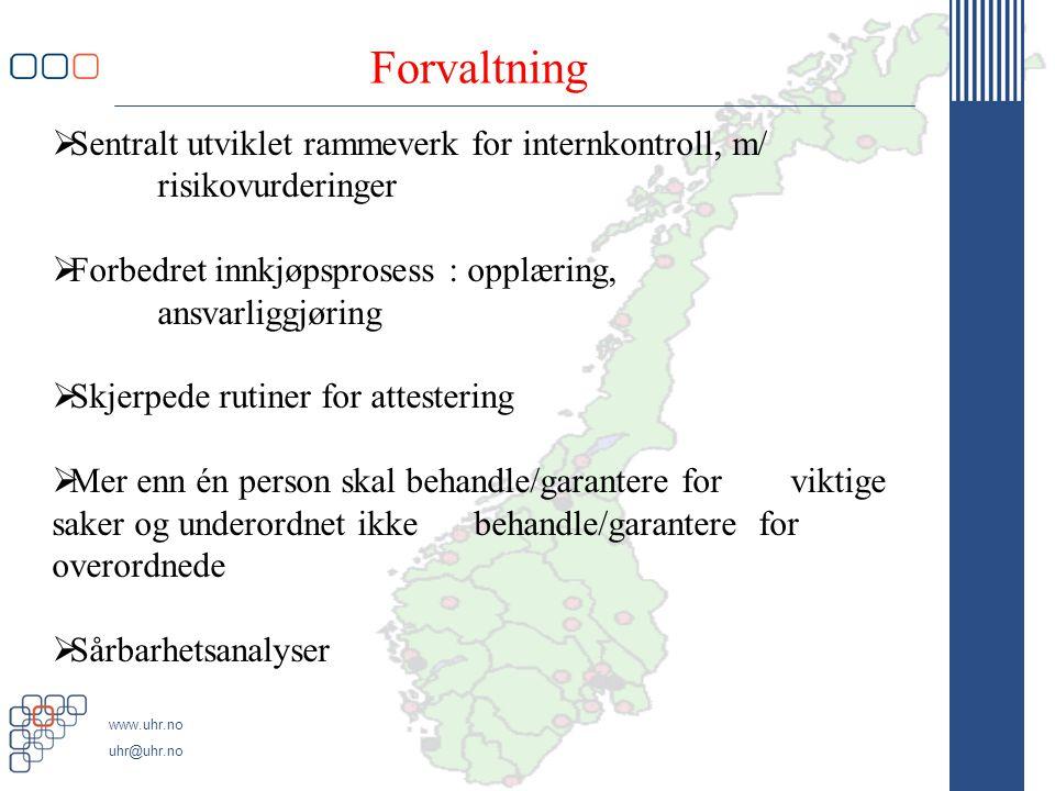 Forvaltning Sentralt utviklet rammeverk for internkontroll, m/ risikovurderinger. Forbedret innkjøpsprosess : opplæring, ansvarliggjøring.