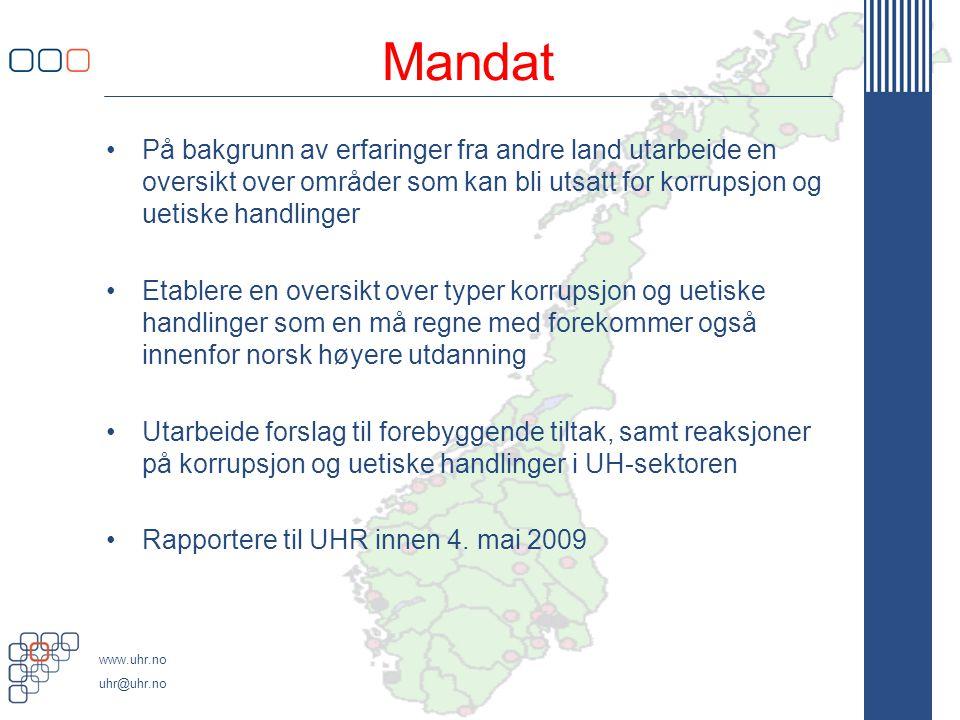 Mandat På bakgrunn av erfaringer fra andre land utarbeide en oversikt over områder som kan bli utsatt for korrupsjon og uetiske handlinger.