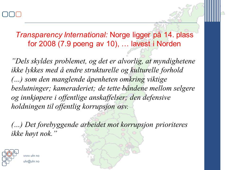 Transparency International: Norge ligger på 14. plass for 2008 (7