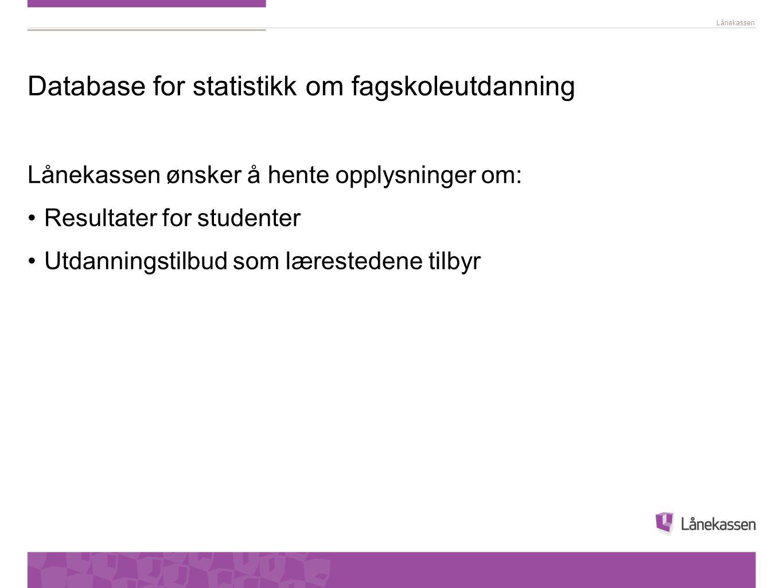 Database for statistikk om fagskoleutdanning