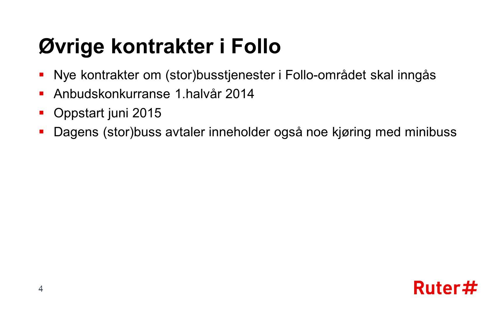 Øvrige kontrakter i Follo