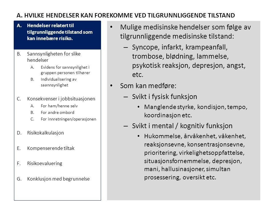 A. HVILKE HENDELSER KAN FOREKOMME VED TILGRUNNLIGGENDE TILSTAND