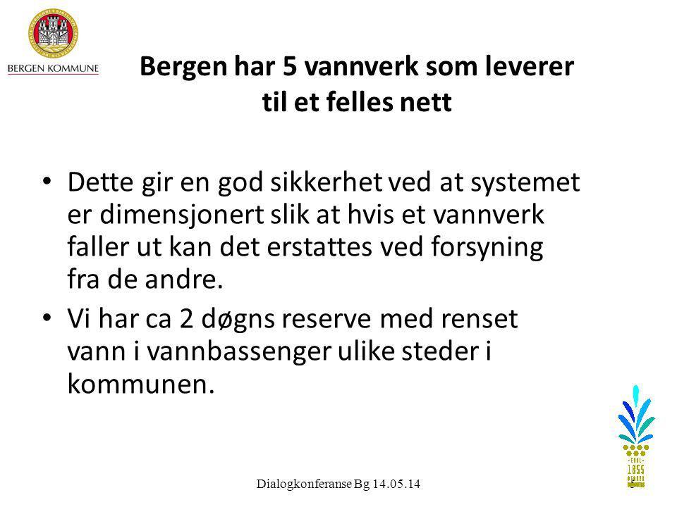 Bergen har 5 vannverk som leverer til et felles nett