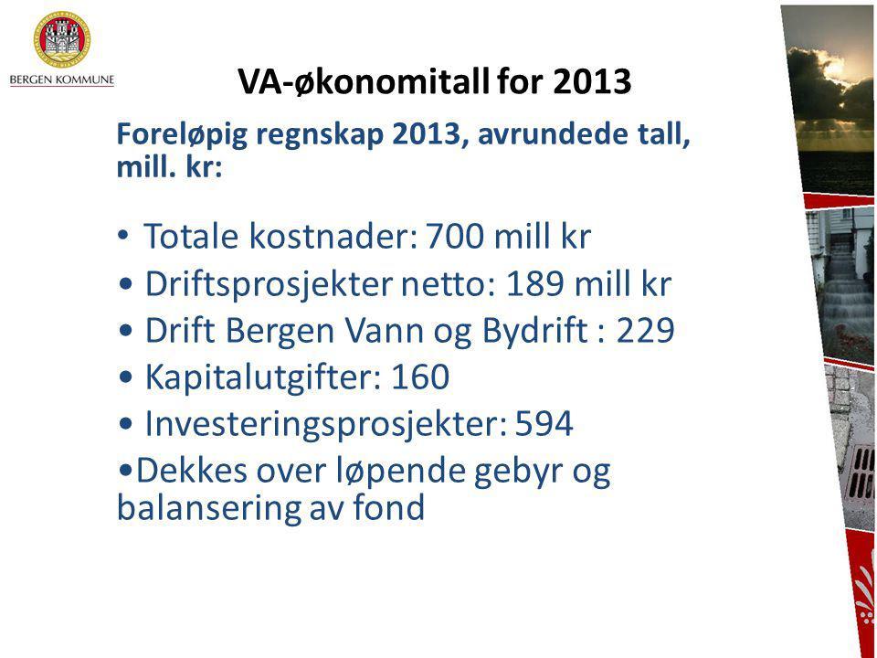 Totale kostnader: 700 mill kr Driftsprosjekter netto: 189 mill kr
