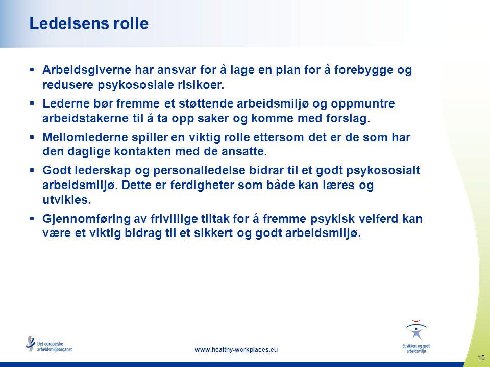 Ledelsens rolle Arbeidsgiverne har ansvar for å lage en plan for å forebygge og redusere psykososiale risikoer.