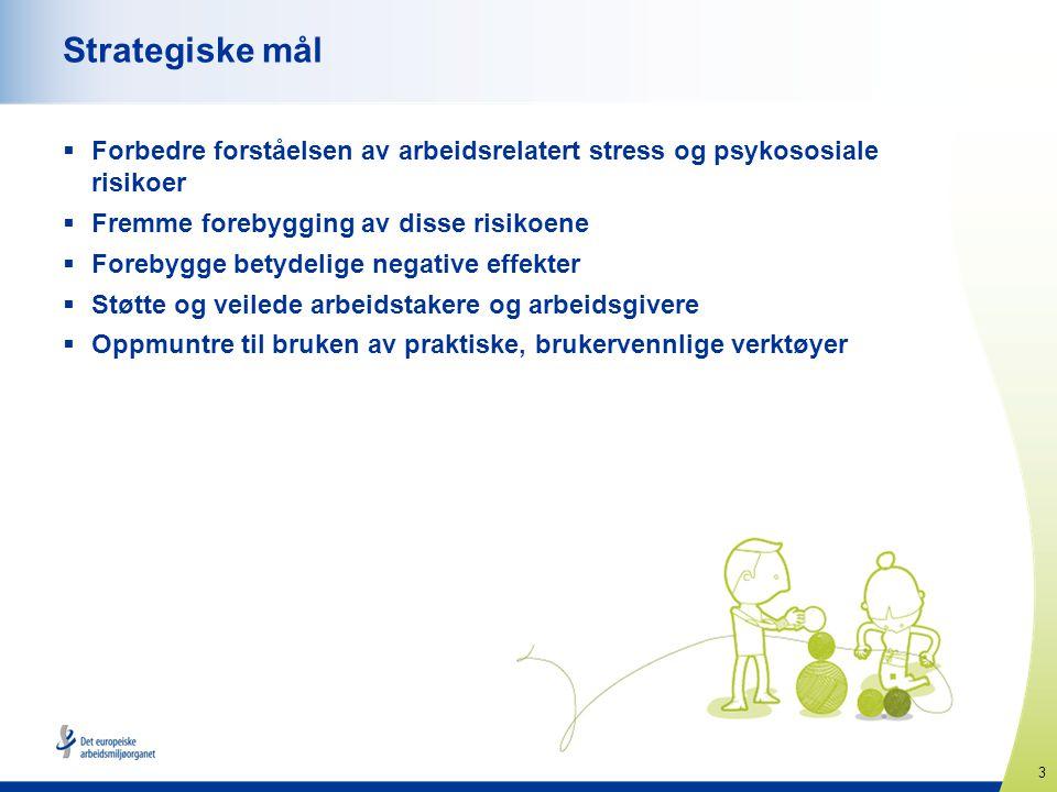 Strategiske mål Forbedre forståelsen av arbeidsrelatert stress og psykososiale risikoer. Fremme forebygging av disse risikoene.